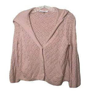 CAbi Pink Cardigan Open Knit Sailor Collar Sz S